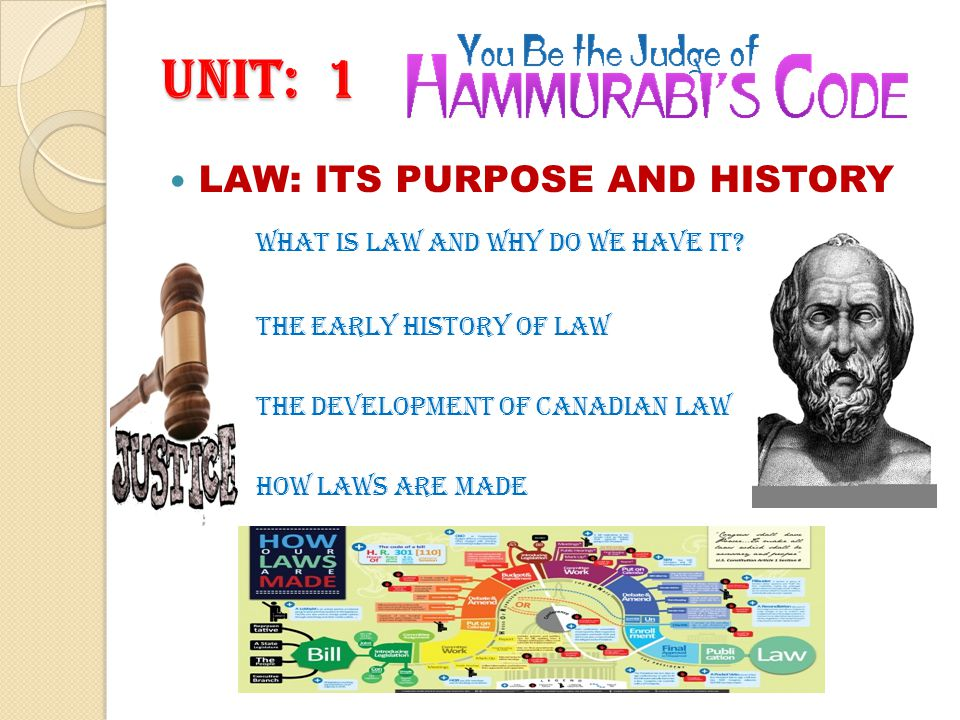 UNIT: 1 LAW: ITS PURPOSE AND HISTORY What is law and why do we have it.