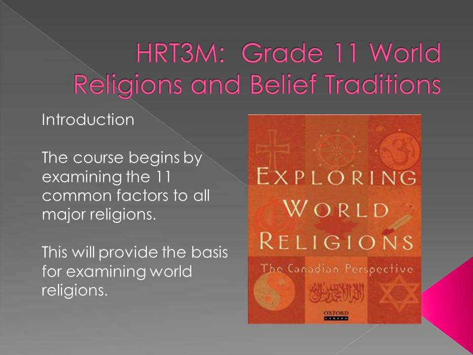 Introduction The course begins by examining the 11 common factors to all major religions.