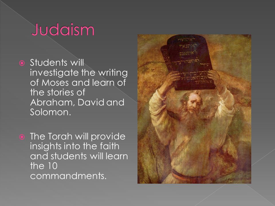  Students will investigate the writing of Moses and learn of the stories of Abraham, David and Solomon.