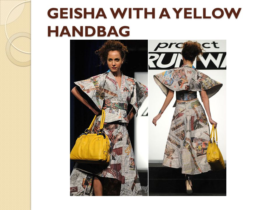 GEISHA WITH A YELLOW HANDBAG