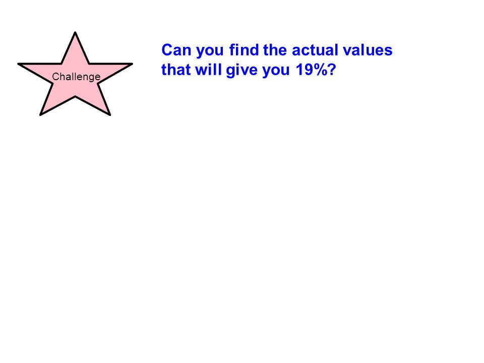 Can you find the actual values that will give you 19%? Challenge