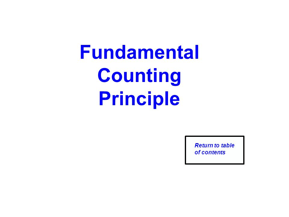 Fundamental Counting Principle Return to table of contents
