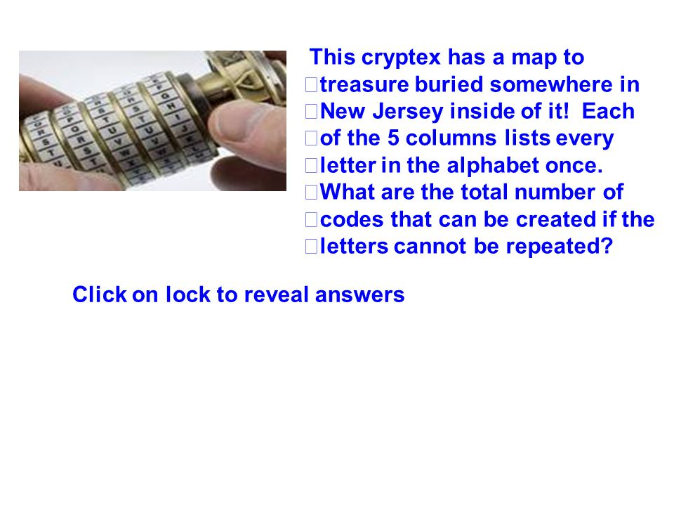 7,893,600 combinations This cryptex has a map to treasure buried somewhere in New Jersey inside of it! Each of the 5 columns lists every letter in the