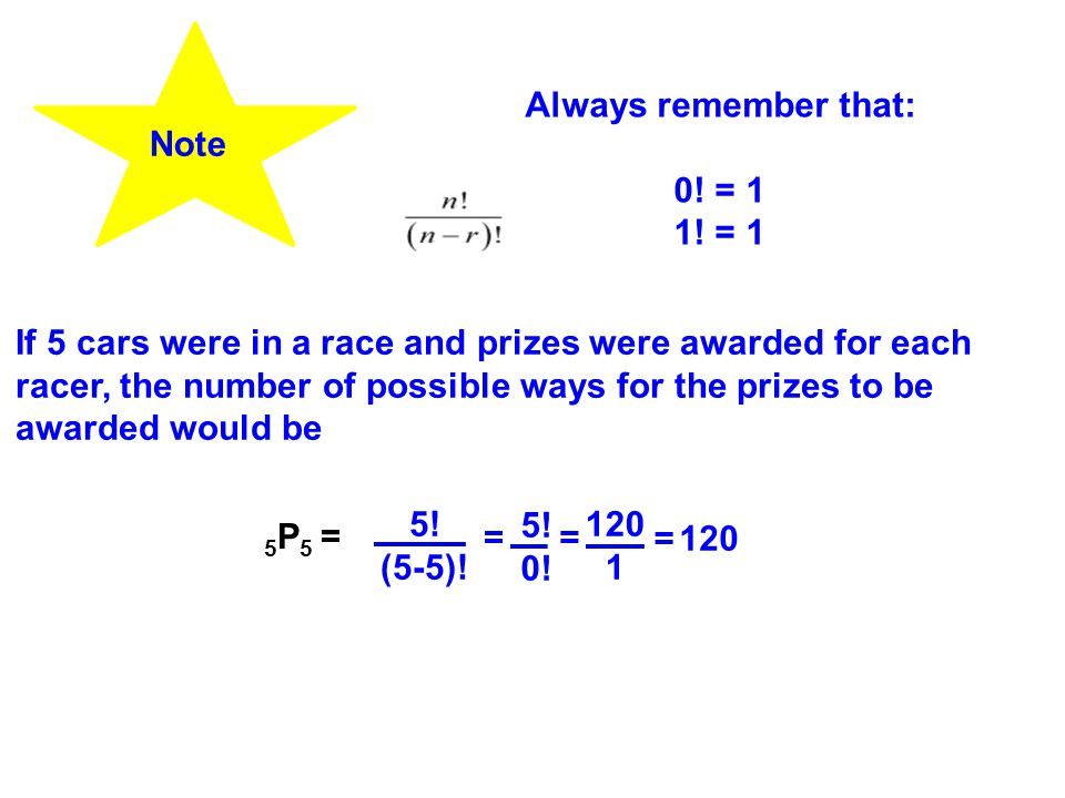 Note Always remember that: 0. = 1 1.