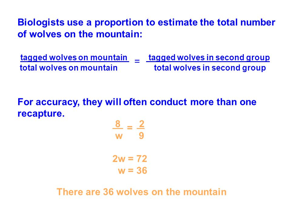 Biologists use a proportion to estimate the total number of wolves on the mountain: tagged wolves on mountain tagged wolves in second group total wolv
