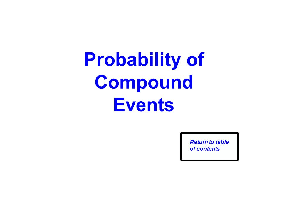 Probability of Compound Events Return to table of contents