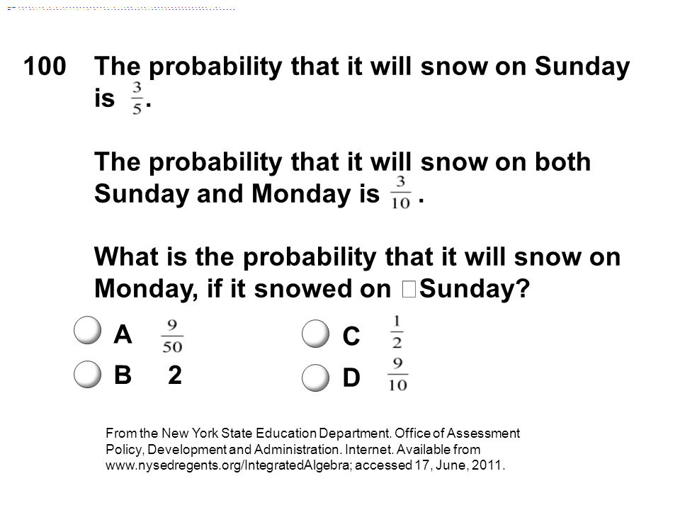 100The probability that it will snow on Sunday is.