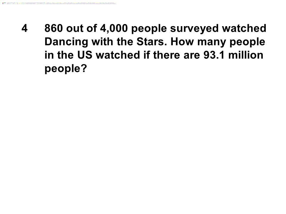4860 out of 4,000 people surveyed watched Dancing with the Stars.