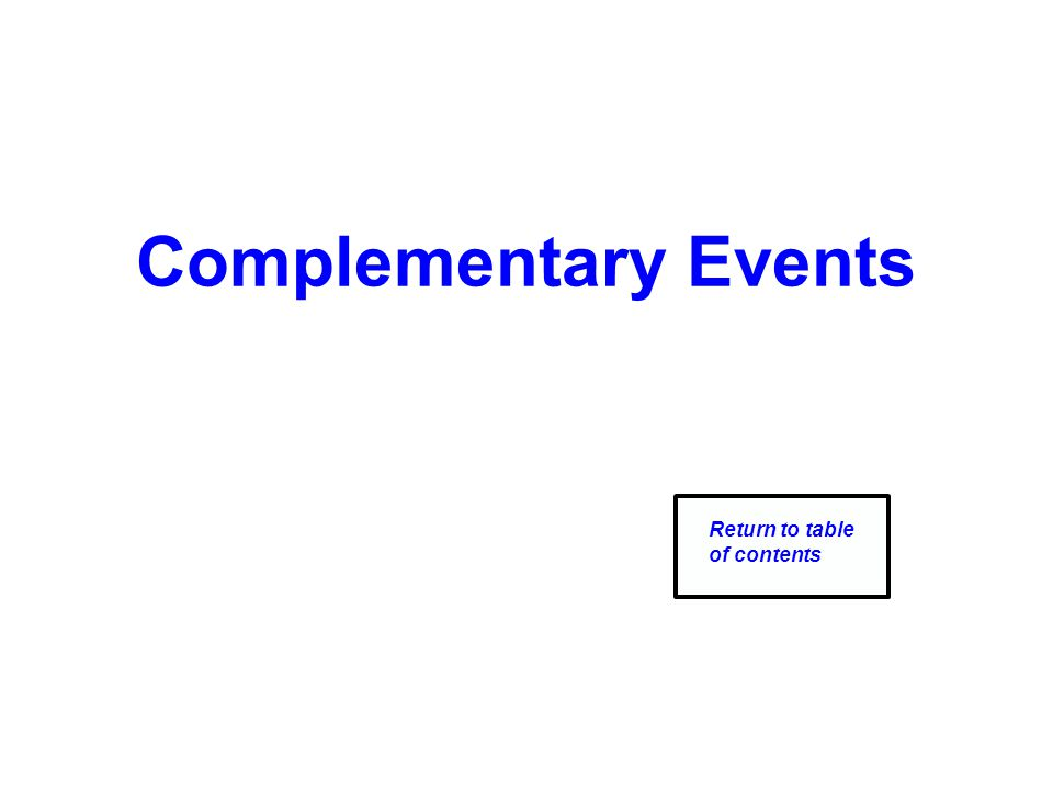 Complementary Events Return to table of contents