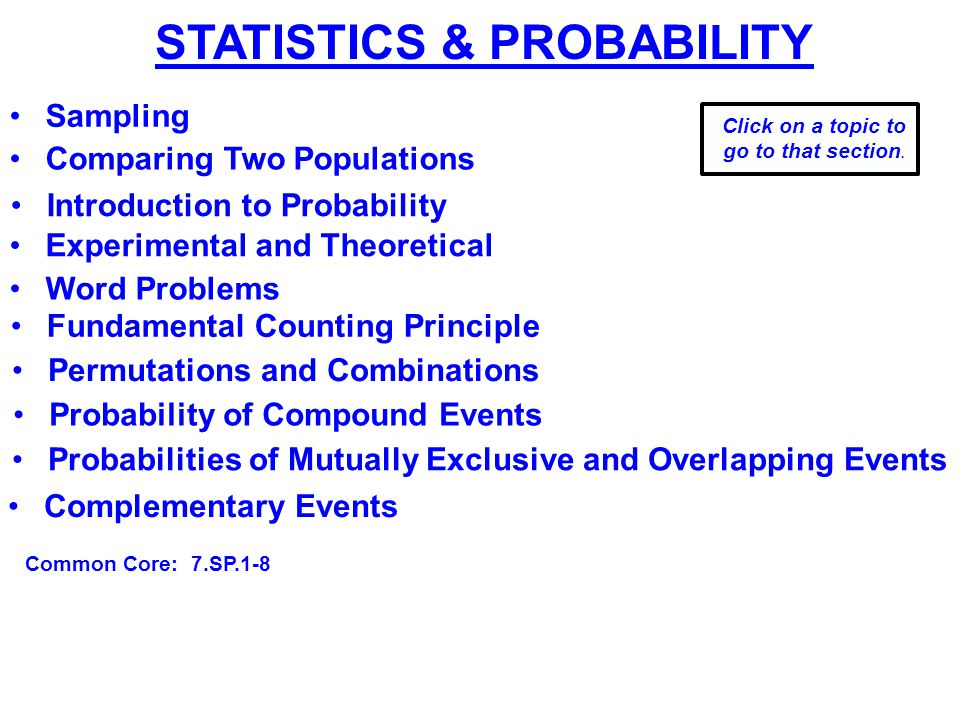 STATISTICS & PROBABILITY Introduction to Probability Fundamental Counting Principle Experimental and Theoretical Probabilities of Mutually Exclusive and Overlapping Events Word Problems Permutations and Combinations Probability of Compound Events Complementary Events Click on a topic to go to that section.