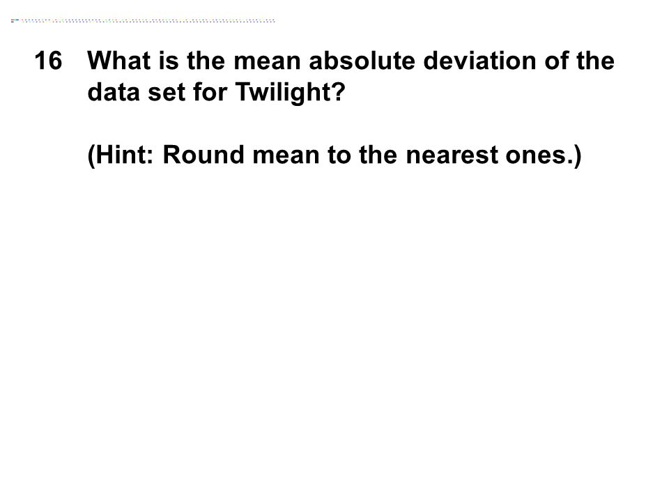 16What is the mean absolute deviation of the data set for Twilight? (Hint: Round mean to the nearest ones.)
