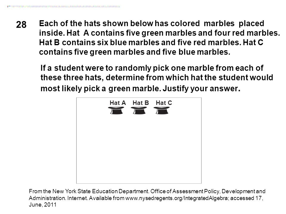 28 Each of the hats shown below has colored marbles placed inside. Hat A contains five green marbles and four red marbles. Hat B contains six blue mar