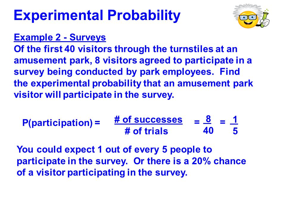 Example 2 - Surveys Of the first 40 visitors through the turnstiles at an amusement park, 8 visitors agreed to participate in a survey being conducted by park employees.