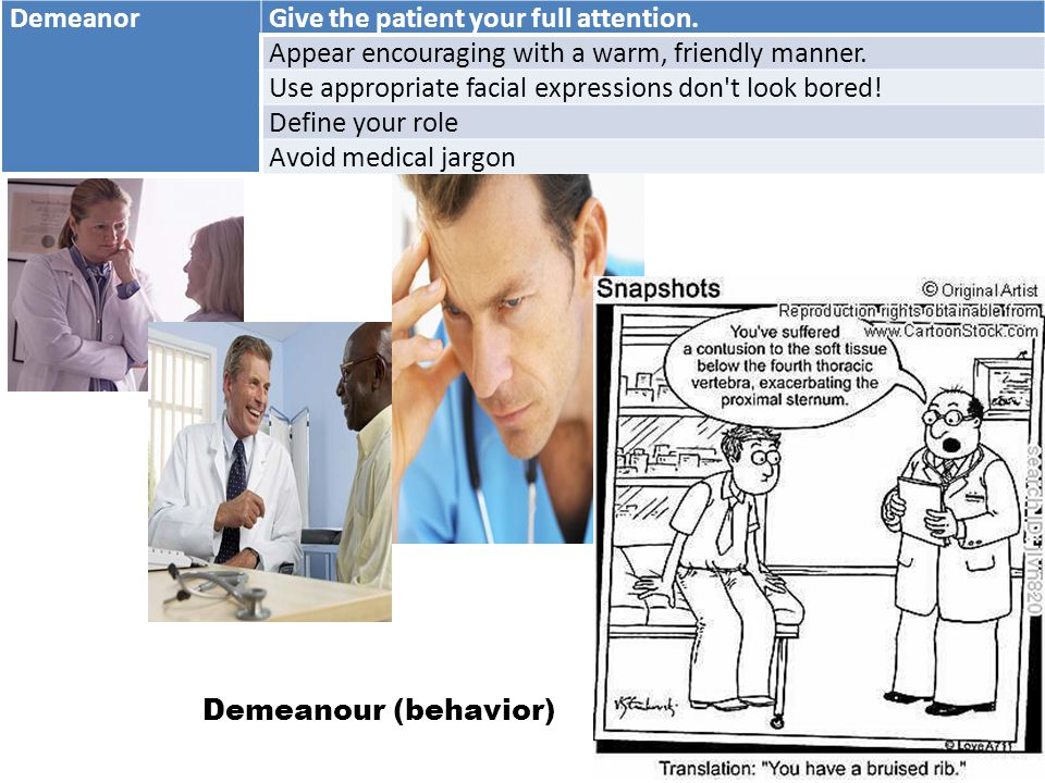 DemeanorGive the patient your full attention. Appear encouraging with a warm, friendly manner.
