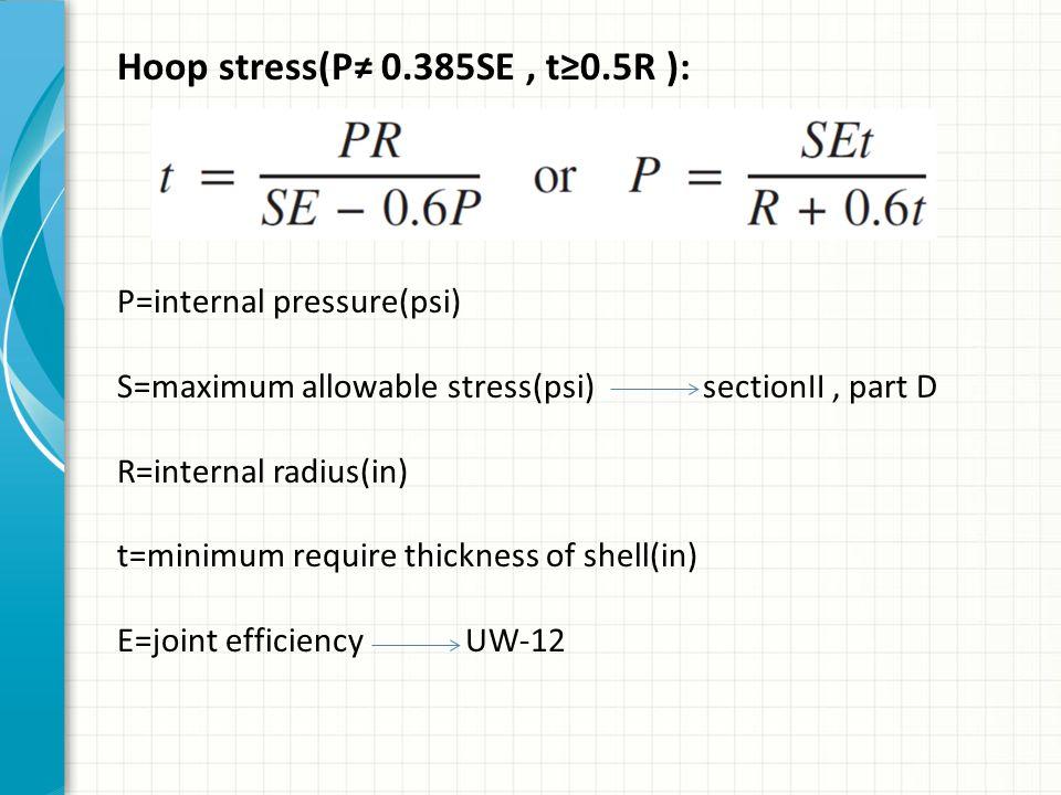 Hoop stress(P≠ 0.385SE, t≥0.5R ): P=internal pressure(psi) S=maximum allowable stress(psi) sectionII, part D R=internal radius(in) t=minimum require t