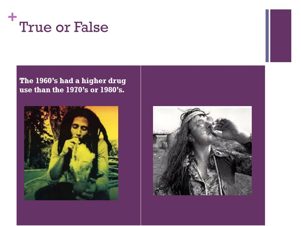 + True or False The 1960's had a higher drug use than the 1970's or 1980's.