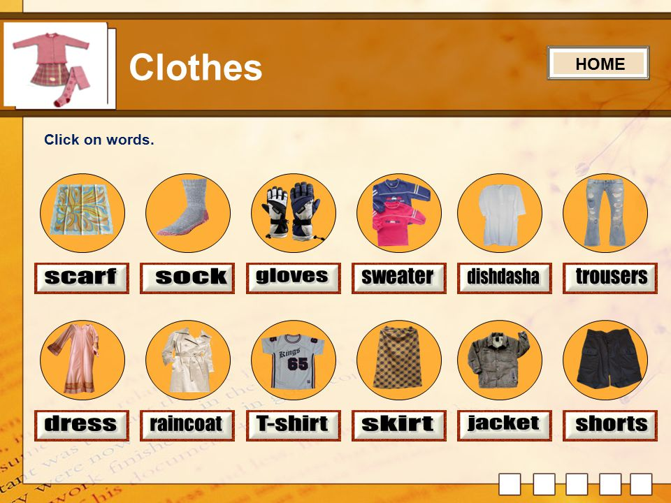Let's Learn Clothes Game Click on a circle.