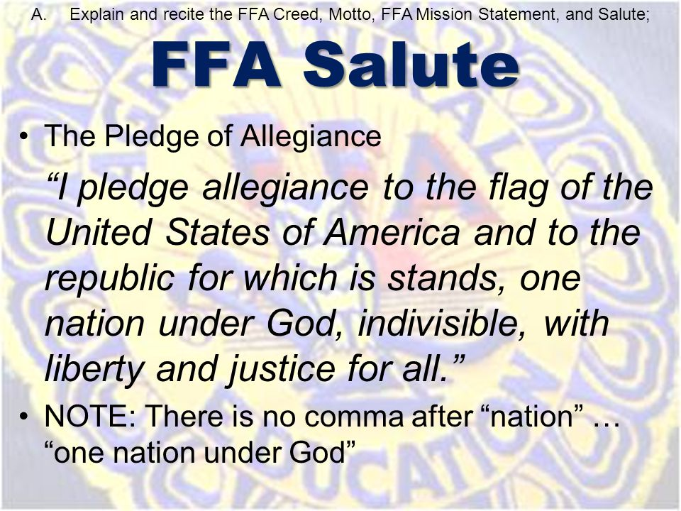 "The Pledge of Allegiance ""I pledge allegiance to the flag of the United States of America and to the republic for which is stands, one nation under Go"