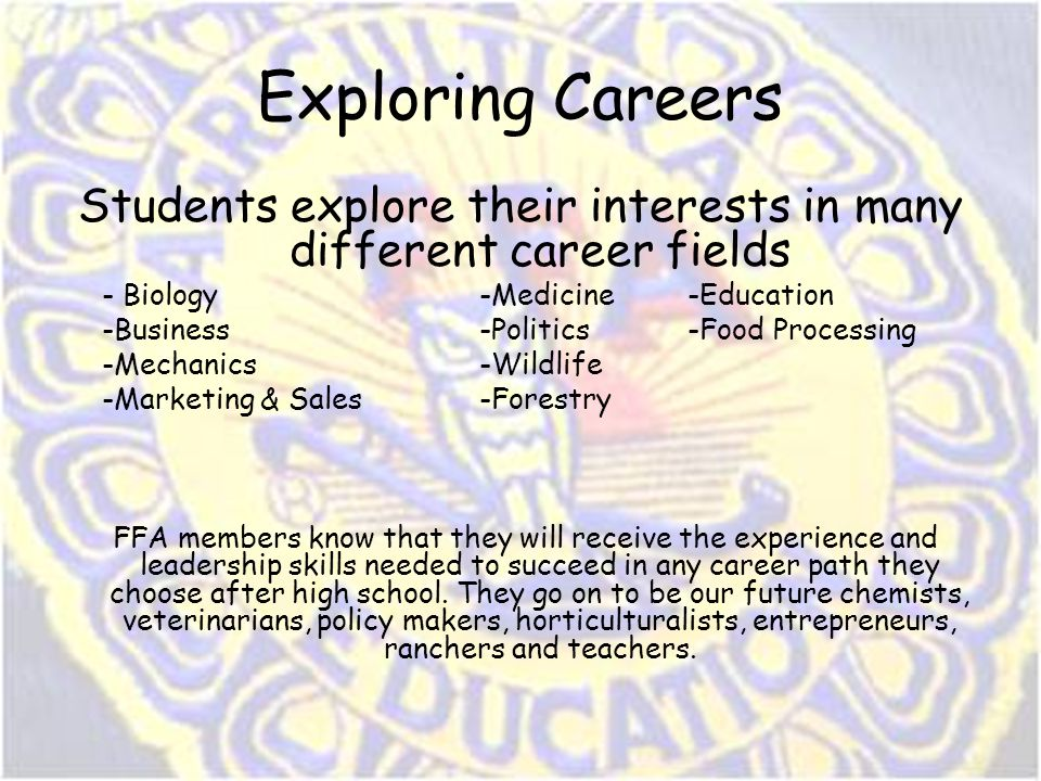 Exploring Careers Students explore their interests in many different career fields - Biology-Medicine-Education -Business-Politics-Food Processing -Me