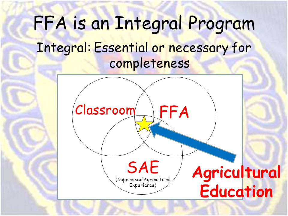 FFA is an Integral Program Integral: Essential or necessary for completeness Classroom FFA SAE (Supervised Agricultural Experience) Agricultural Educa