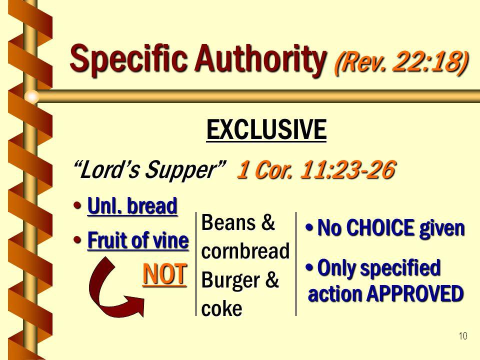 "10 Specific Authority (Rev. 22:18) EXCLUSIVE ""Lord's Supper"" 1 Cor. 11:23-26 Unl. breadUnl. bread Fruit of vineFruit of vine Beans & cornbread Burger"
