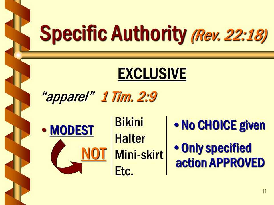 """11 Specific Authority (Rev. 22:18) EXCLUSIVE """"apparel"""" 1 Tim. 2:9 MODESTMODEST BikiniHalterMini-skirtEtc. No CHOICE givenNo CHOICE given Only specifie"""