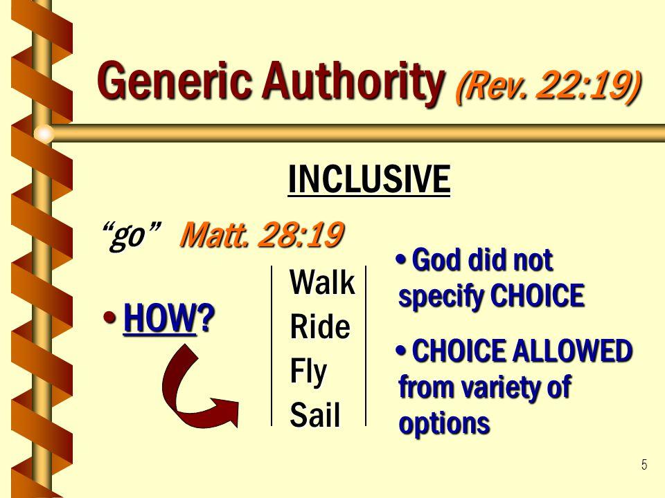 "5 Generic Authority (Rev. 22:19) INCLUSIVE ""go"" Matt. 28:19 HOW?HOW? WalkRideFlySail God did not specify CHOICEGod did not specify CHOICE CHOICE ALLOW"
