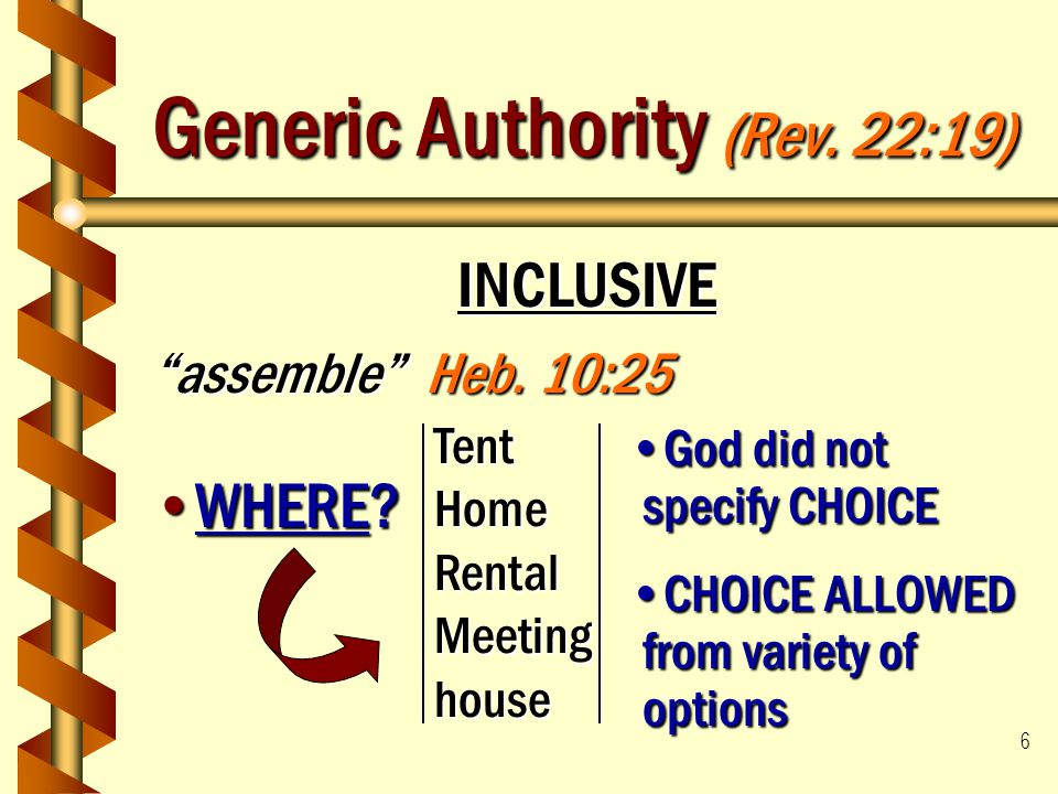 """6 Generic Authority (Rev. 22:19) INCLUSIVE """"assemble"""" Heb. 10:25 WHERE?WHERE? TentHomeRental Meeting house God did not specify CHOICEGod did not speci"""