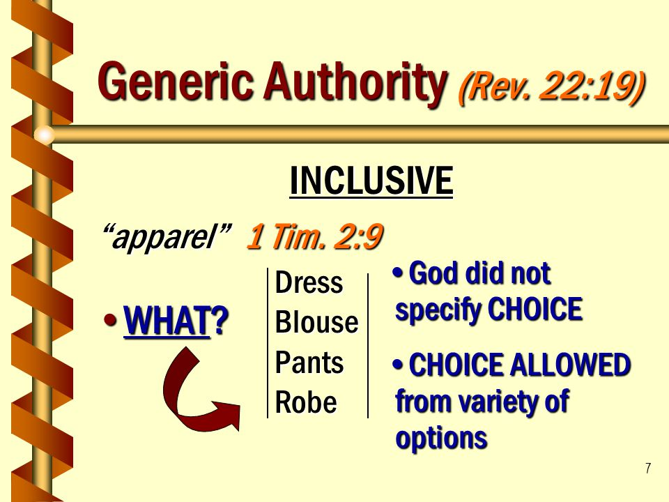 """7 Generic Authority (Rev. 22:19) INCLUSIVE """"apparel"""" 1 Tim. 2:9 WHAT?WHAT? DressBlousePantsRobe God did not specify CHOICEGod did not specify CHOICE C"""