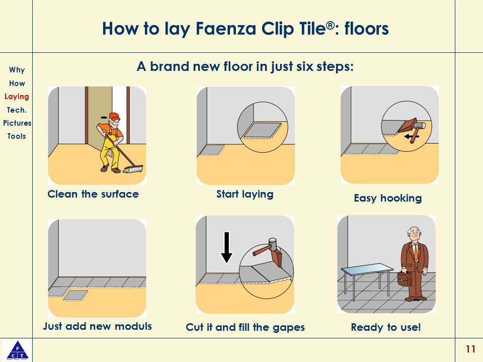 11 How to lay Faenza Clip Tile ® : floors Why How Laying Tech. Pictures Tools A brand new floor in just six steps: Clean the surfaceStart laying Just