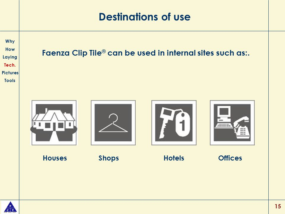 15 Destinations of use Faenza Clip Tile ® can be used in internal sites such as:. Why How Laying Tech. Pictures Tools HousesShopsHotelsOffices