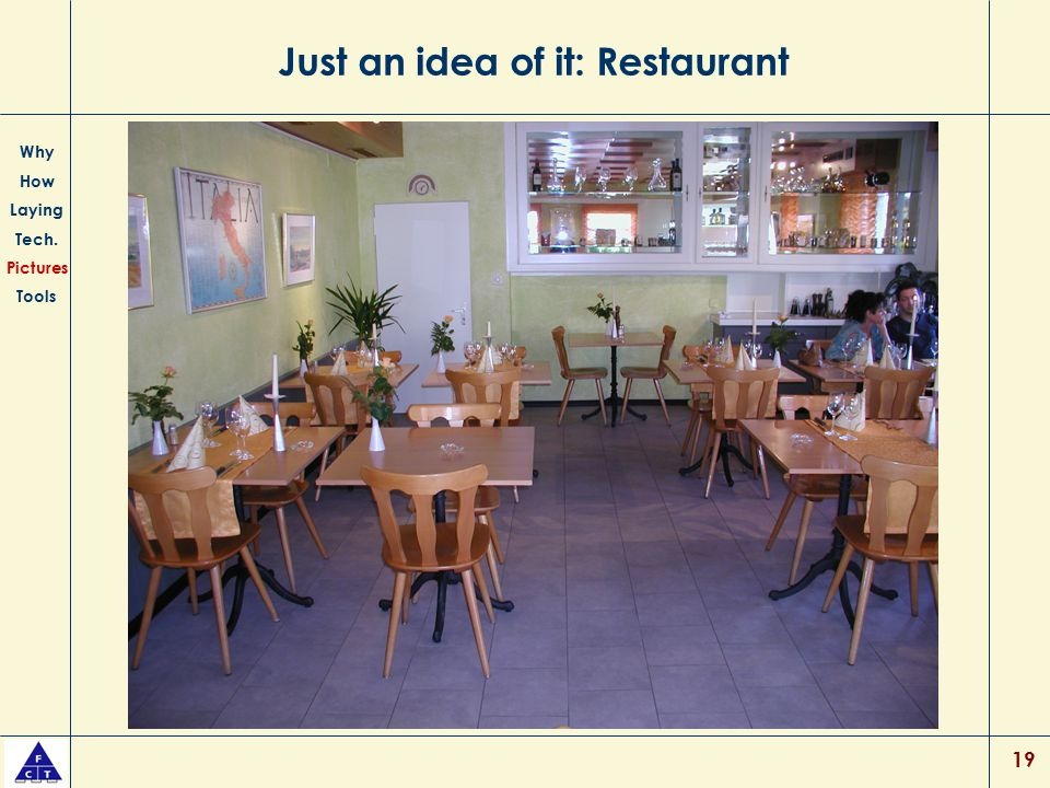 19 Just an idea of it: Restaurant Why How Laying Tech. Pictures Tools