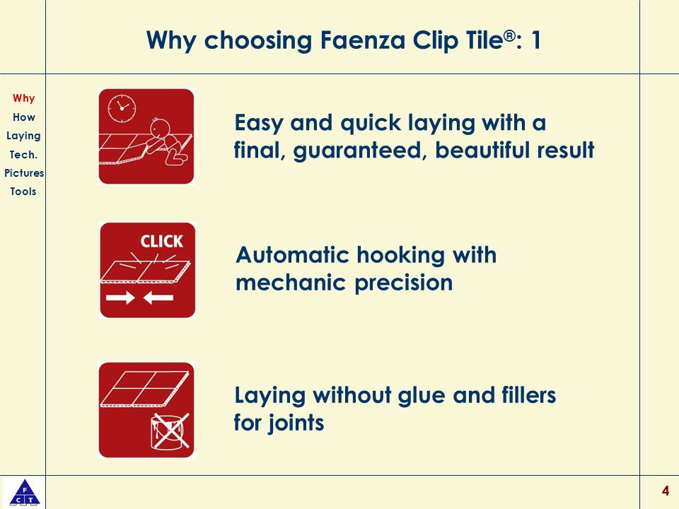 4 Why choosing Faenza Clip Tile ® : 1 Easy and quick laying with a final, guaranteed, beautiful result Laying without glue and fillers for joints Why