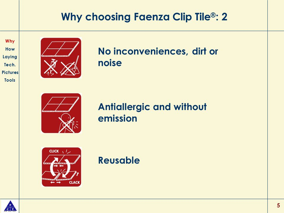 5 Why choosing Faenza Clip Tile ® : 2 No inconveniences, dirt or noise Antiallergic and without emission Why How Laying Tech. Pictures Tools Reusable