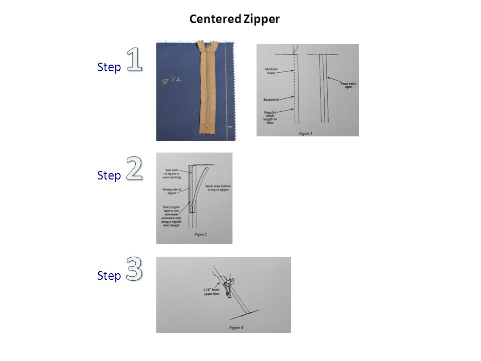 -Machine baste(longer stitch length) the seam where the zipper is to be placed.