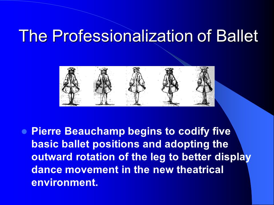 Pierre Beauchamp begins to codify five basic ballet positions and adopting the outward rotation of the leg to better display dance movement in the new