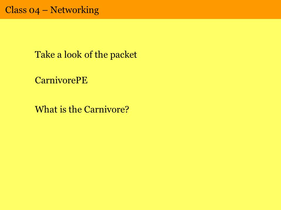Class 04 – Networking Take a look of the packet CarnivorePE What is the Carnivore?