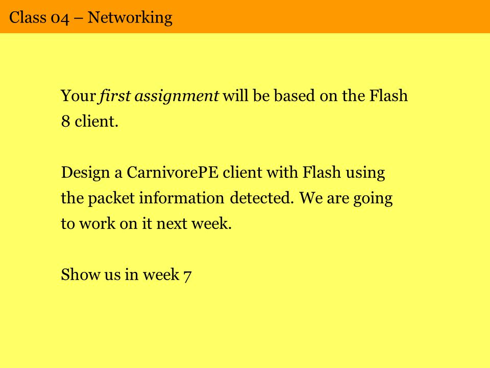 Class 04 – Networking Your first assignment will be based on the Flash 8 client.