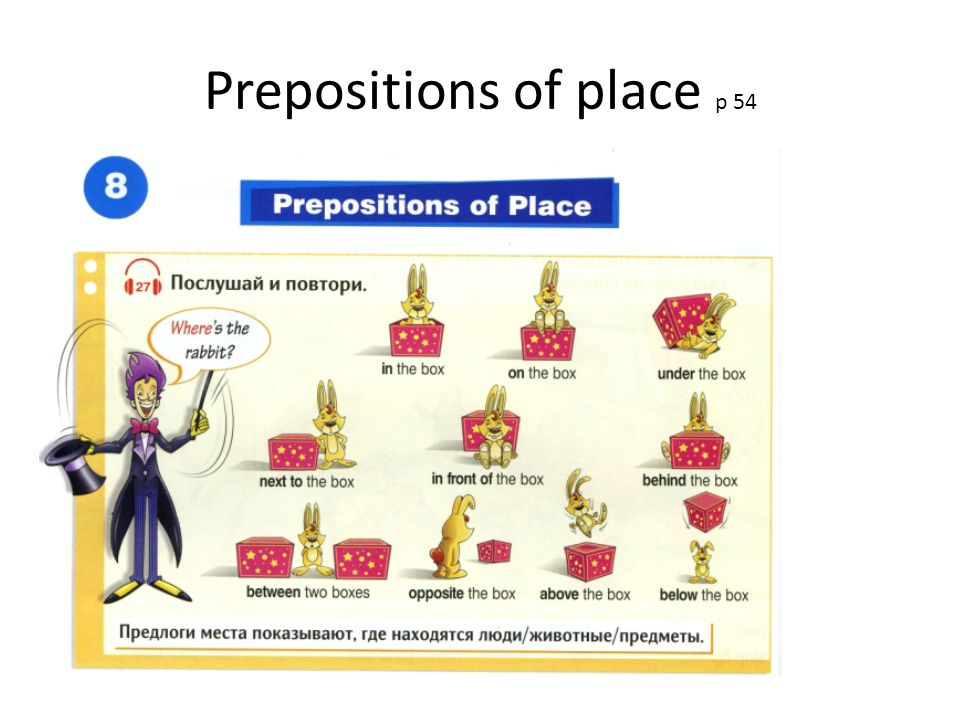 Prepositions of place p 54