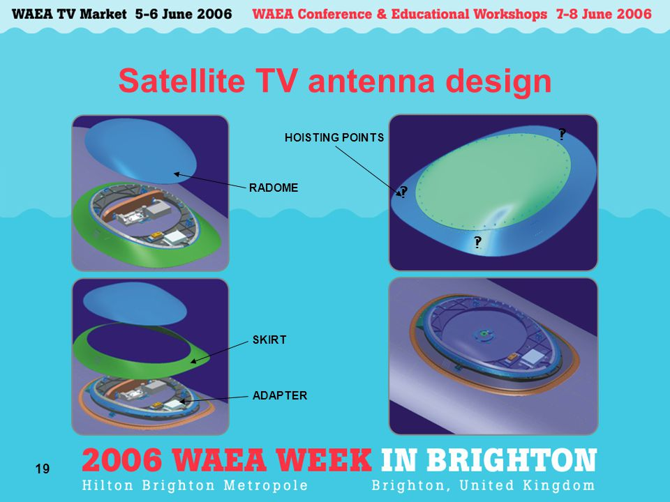 19 Satellite TV antenna design RADOME ‽ ‽ ‽ SKIRT HOISTING POINTS ADAPTER