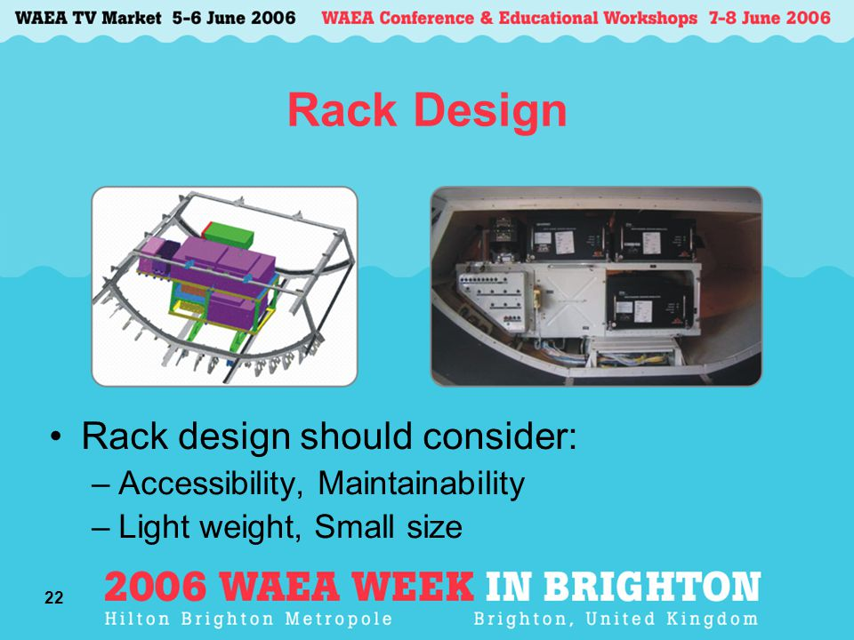 22 Rack Design Rack design should consider: –Accessibility, Maintainability –Light weight, Small size