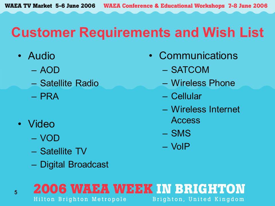 5 Customer Requirements and Wish List Audio –AOD –Satellite Radio –PRA Video –VOD –Satellite TV –Digital Broadcast Communications –SATCOM –Wireless Ph