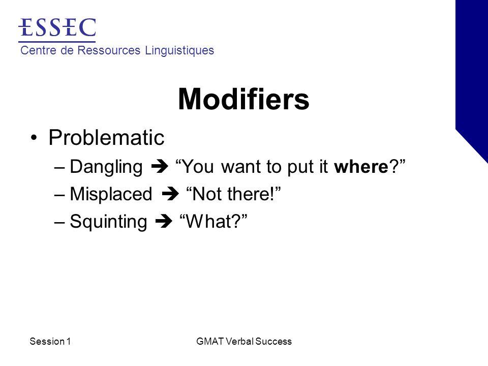 Centre de Ressources Linguistiques Session 1GMAT Verbal Success Modifiers Dangling Modifiers –A modifier left without something to modify.