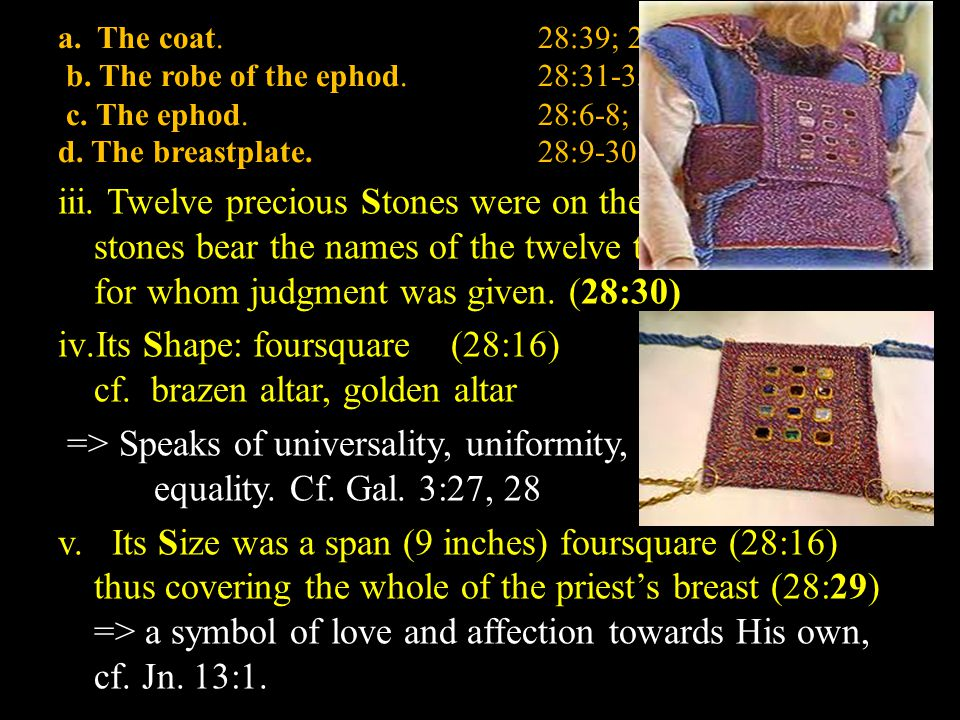 a. The coat.28:39; 29:27 b. The robe of the ephod.28:31-35; 39:22-26 c.
