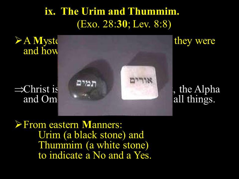 ix. The Urim and Thummim. (Exo. 28:30; Lev.