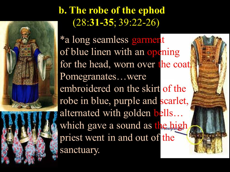 b. The robe of the ephod (28:31-35; 39:22-26) *a long seamless garment of blue linen with an opening for the head, worn over the coat. Pomegranates…we