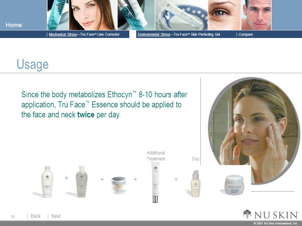 © 2001 Nu Skin International, Inc  Mechanical Stress—Tru Face ™ Line Corrector  Back Back  Next Next © 2001 Nu Skin International, Inc  Environmental Stress—Tru Face ™ Skin Perfecting Gel  Compare Home 39 Usage Since the body metabolizes Ethocyn ™ 8-10 hours after application, Tru Face ™ Essence should be applied to the face and neck twice per day.