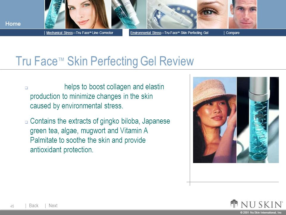 © 2001 Nu Skin International, Inc  Mechanical Stress—Tru Face ™ Line Corrector  Back Back  Next Next © 2001 Nu Skin International, Inc  Environmental Stress—Tru Face ™ Skin Perfecting Gel  Compare Home 45 Tru Face ™ Skin Perfecting Gel Review  Kelpadelie helps to boost collagen and elastin production to minimize changes in the skin caused by environmental stress.
