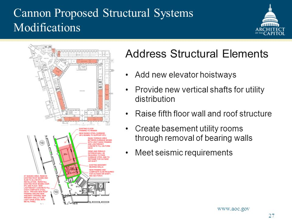 27 www.aoc.gov Cannon Proposed Structural Systems Modifications Address Structural Elements Add new elevator hoistways Provide new vertical shafts for utility distribution Raise fifth floor wall and roof structure Create basement utility rooms through removal of bearing walls Meet seismic requirements