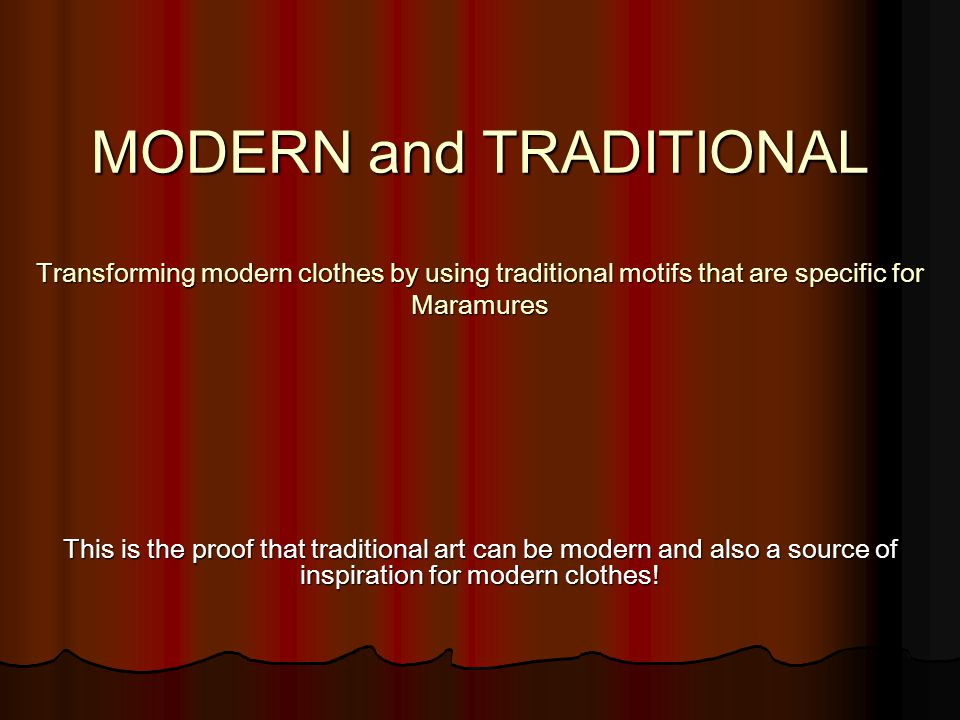 The challenge We had to transform a casual outfit and some elegant clothes by using traditional motifs